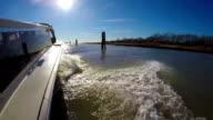 Taxi boat in the venetian lagoon