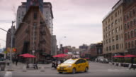 Taxi turning onto 14th Street in the Meatpacking District in Manhattan