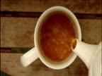 Tea and milk poured into white mug
