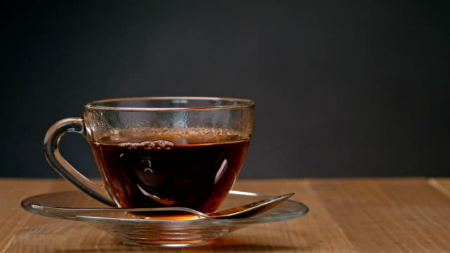 Tea, Crystal cup of hot beverage with Steam