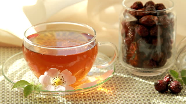 tea with linden flowers and rosehips