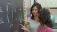 MS, Teacher helping girl (10-11) solve math equation on blackboard, Richmond, Virginia, USA