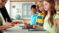 Teacher showing digital tablet to students in classroom