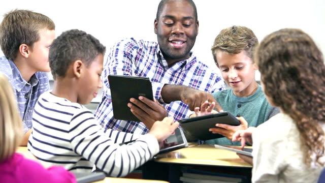 Leraar met basisschool leerlingen, digitale tabletten