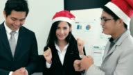 Team Business asian dancing in office , slow motion