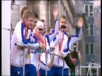 Team GB athletes wave at crowd during parade on return from Beijing 2008 Olympic Games