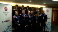 Team GB return home photocall ENGLAND London Heathrow Airport INT ***FLASH Sochi Winter Olympics 2014 Team GB including Eve Muirhead Lizzy Yarnold...