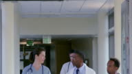 MS TD Team of doctors and medical staff in discussion walking through hospital corridor
