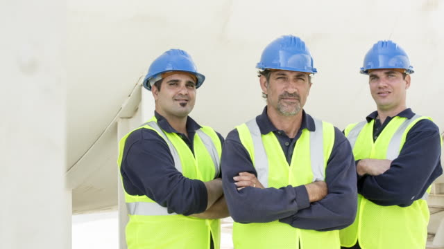TS Team of fuel depot workers