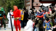 A team of growling red and green demons descended on Iwashimizu Hachinagu shrine in Yawata Kyoto Prefecture on Jan 29 only to be driven back by...