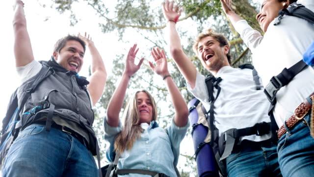 Wanderer-Team mit Hände zusammen