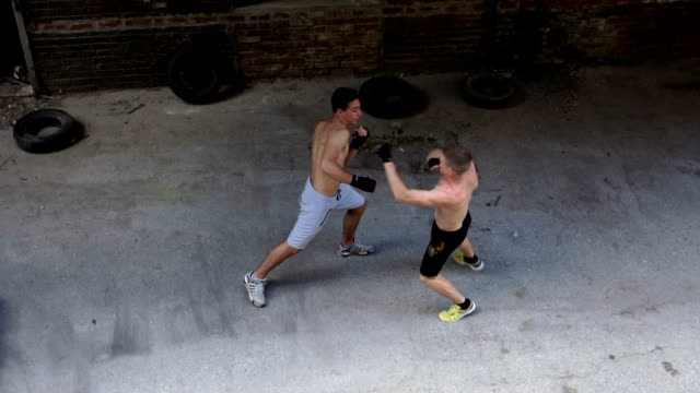 Teammates sparring and fighting outdoors