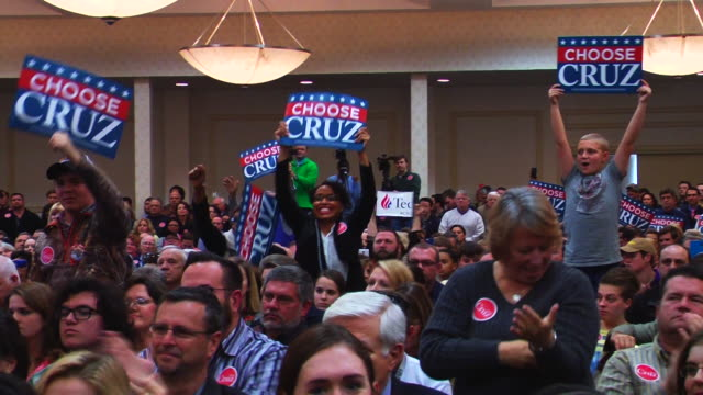 Ted Cruz and supporters at campaign rally at the Marriott Hotel Cruz greets fans and sign autographs