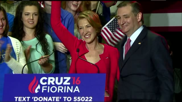 WXIN Ted Cruz Announces Carly Fiorina As Running Mate at a campaign rally in Indianapolis Indiana on April 27 2016