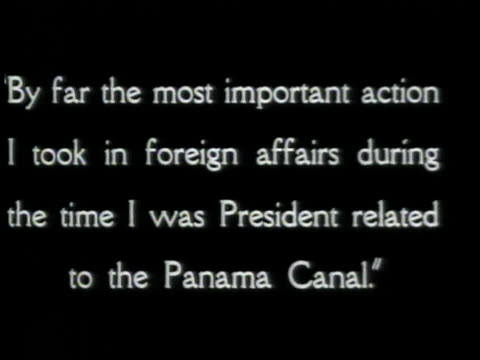 Teddy Roosevelt speaking about the Panama canal interspersed with his words / United States