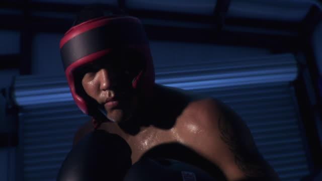 MS Teenage boxer (14-15) wearing boxing gloves, punching towards camera  / Jacksonville, Florida, USA
