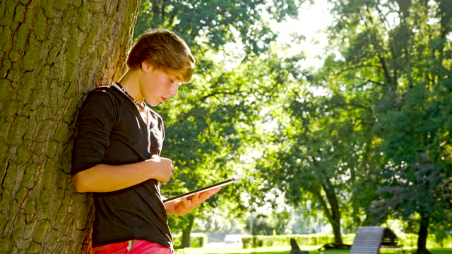 MS DS Teenage Boy Using A Digital Tablet