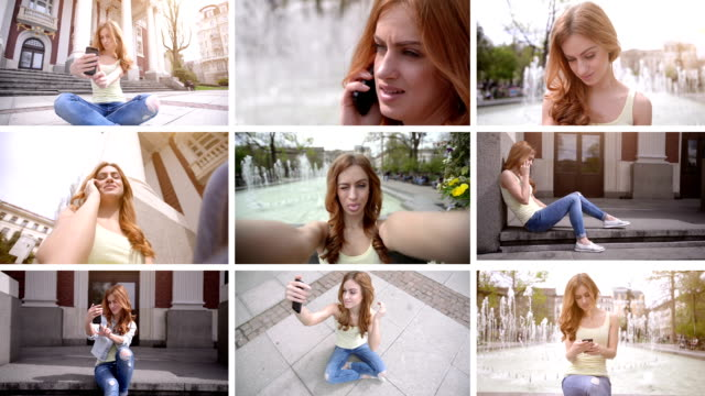 HD MONTAGE: Teenage girl and mobile phone