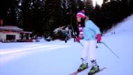 Teenage girl first time on the ski