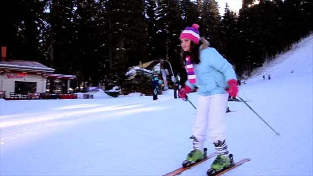 Teenage girl first time on the ski