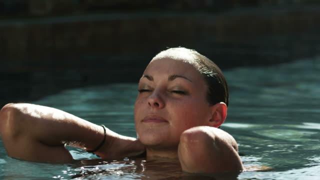 Cu Teenage Girl Relaxing In Swimming Pool American Fork Utah Usa Stock Footage Video Getty Images