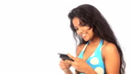 teenage girl typing sms on white background