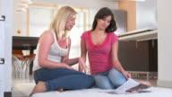 HD DOLLY: Teenage Girls Having Fun Reading Magazine