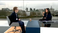 Teenager gets Britain's first bionic arm controlled by mobile phone app ENGLAND London GIR INT Patrick Kane LIVE STUDIO interview and demonstrating...