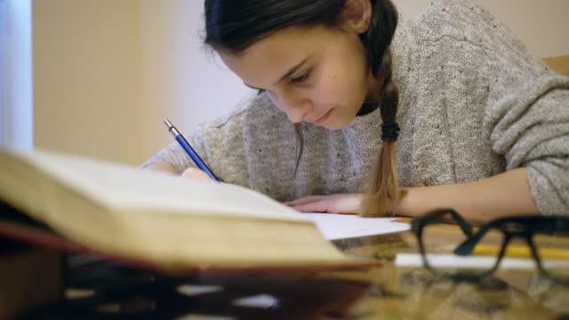 Teenager girl do homework