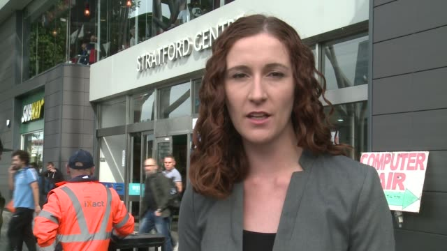 Teenager held after Stratford acid attack DAY Reporter to camera SOT