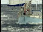 Teenager Seb Clover breaks solo transatlantic record ITN Poor quality pix GV Yacht of British yachtsman Ian Clover sailing thru sea as arriving in...