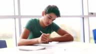 Teenager Working Hard at School