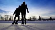 Teens have fun skating together