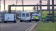 Teesside chemical plant where toxic leak injured workers ENGLAND Teesside Billingham EXT Fireman and paramedic at entrance to chemical plant where...