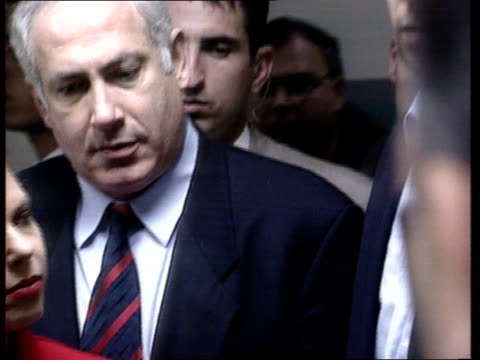 Tel Aviv bombing ITN Moore i/c Benjamin Netanyahu as visiting wounded Benjamin Netanyahu pkf Will pursue terrorists/ if terrorists came from areas...