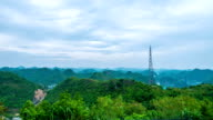Telecommunications Tower on Mountain with Cloudy Sky, Time lapse
