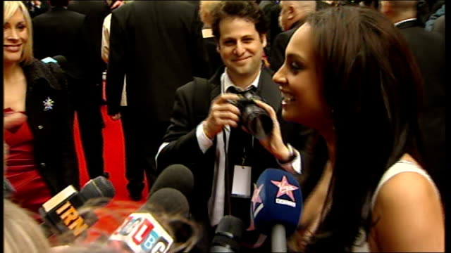 London Royal Opera House EXT Alesha Dixon conducting interview on red carpet