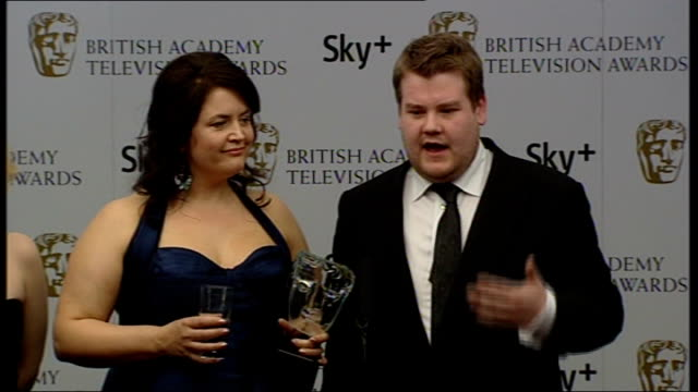Winners' room interviews James Corden and Ruth Jones on stage with Rob Brydon and Joanna Page James Corden and Ruth Jones interview SOT Incredible to...