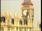 Television cameras in parliament round the world R 1561983 London EXT General view Houses of Parliament Big Ben clock tower above Parliament PULL...