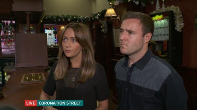 'Coronation Street' actor Liz Dawn dies Granada Studios INT 'Coronation Street' actors Alan Halsall and Samia Ghadie SOT