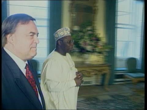 London Downing Street INT Deputy Prime Minister John Prescott MP along with Nigerian President Olusegun Obasanjo who intervened on behalf of the...