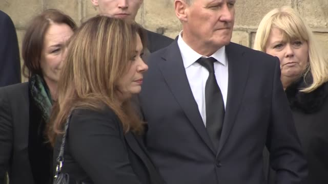 Liz Dawn funeral Donald Ibbetson and other family members / Coffin carried into Cathedral by pallbearers / Alan Halsall arriving