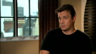 Nathan Fillion interview ENGLAND London INT Nathan Fillion interview SOT summing up show 'Castle' On how does he relate to his character talks about...