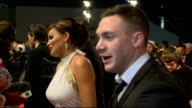 National Television Awards Arrivals Kirk Norcross interview SOT / Jessica Wright speaking to media / James Argent speaking to media and interview SOT...