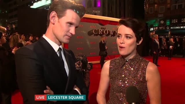 'The Crown' season 2 premieres in Leicester Square Claire Foy and Matt Smith LIVE red carpet interview SOT