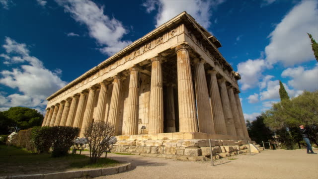 Temple of Hephaestus, Athens, Greece. 4K Time lapse