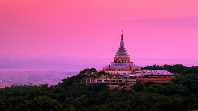Temple on Mountain. (Time Lapse).