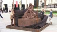 Temporary Trafalgar Square statue commemorates Battle of Passchendaele ENGLAND London Trafalgar Square EXT Sculpture to commemorate Battle of...