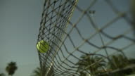 SLO MO tennis ball hits net right to left, Spain