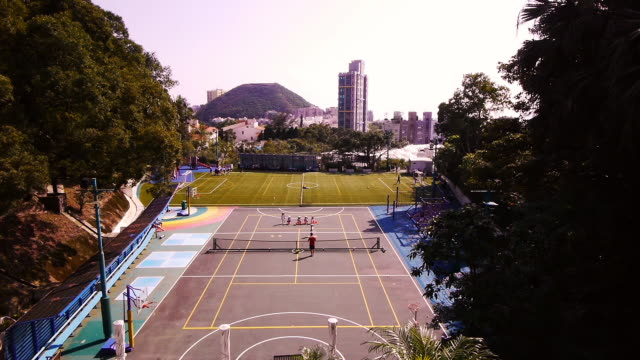 Tennis Court and Soccer Field on the Hong Kong Peak